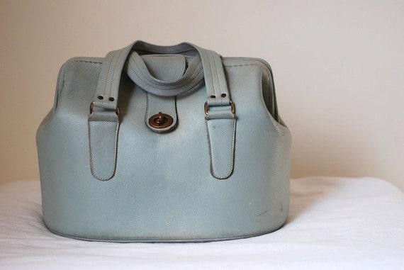Vintage Leather Purse, Leather handbag, Vintage Blue leather purse, leather Handbag, Vintage mid-century Doctors Bag Purse