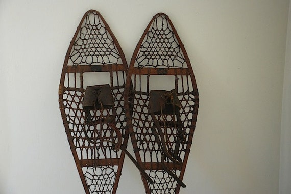 Industrial Decor, Antique Wooden Snowshoes, Northland Ski Manufacturing Company Snowshoes, Winter Travel Gear, Man Guy Husband GIft,