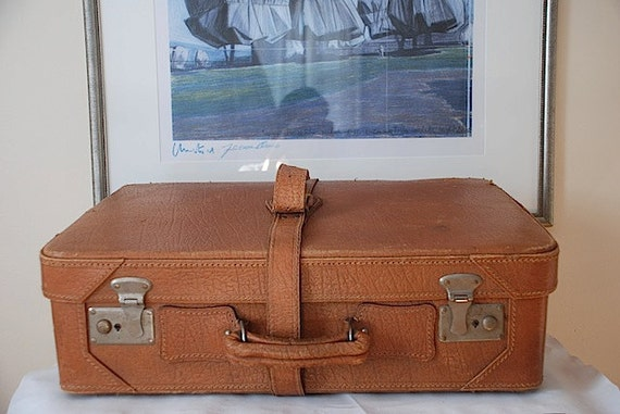 VIntage Leather Suitcase Luggage, Brown Leather Luggage, Vacation Travel Necessities, Spring Break, Unique Gift for Him, Home decor