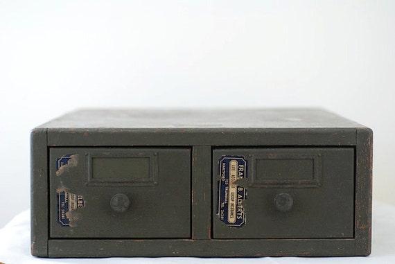 Vintage Card Catalogue, Antique Library Card Catalogue, Oak Card Catalogue Two Drawer, Mini Catalogue Index Set, CARD CATALOGUE