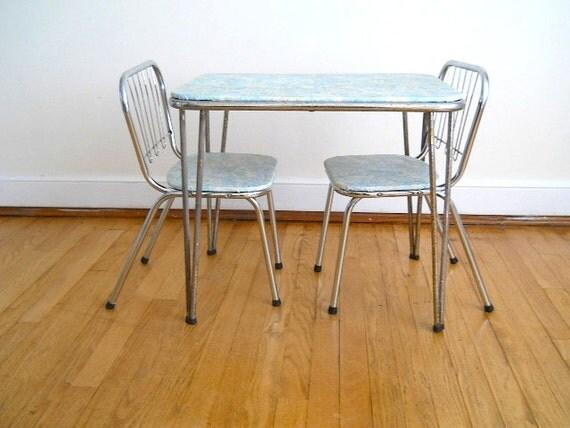 Vintage Vinyl Kid Table and Chair, Home Decor for Midcentury Children's Room, Desk for Kid, Gift for Grandson, Blue Kid Chair