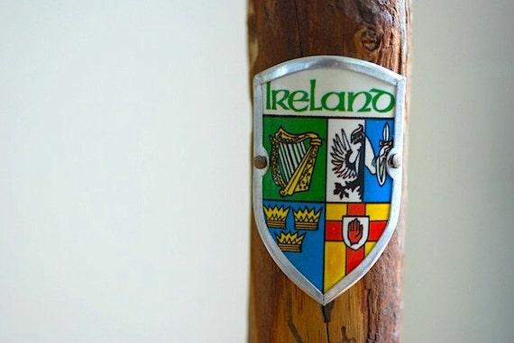 walking stick with european badges hiking stick by thenewtonlabel. Black Bedroom Furniture Sets. Home Design Ideas