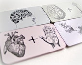 Mini Card Pack - 24 Cards - Heart and Hand - Pale Pink