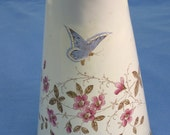 Enamel pitcher, hand - painted floral and butterflies, old