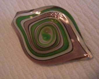 Lampwork Glass Pink & Green Circle Bead Pendant Use 4 Necklace or Craft Make a Gift