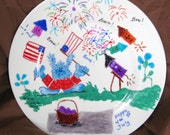 Time for the 4th of July party, an 11 inch painted plate for decor only