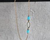 Minimalist Turquoise Off-Set Necklace.