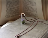 Tiny Terrarium Vial Necklace w/ Crushed Amethyst