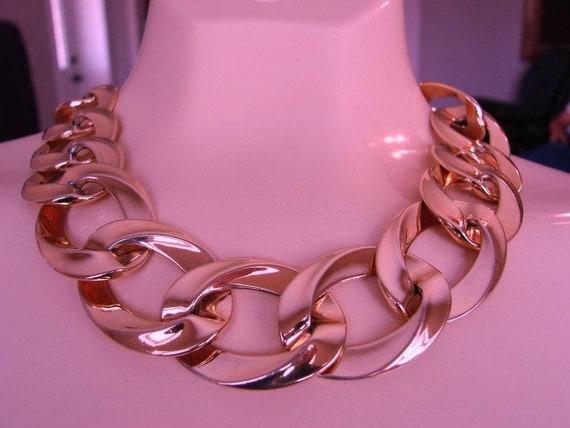 Designer 80s MONET Wide Chunky Link Necklace