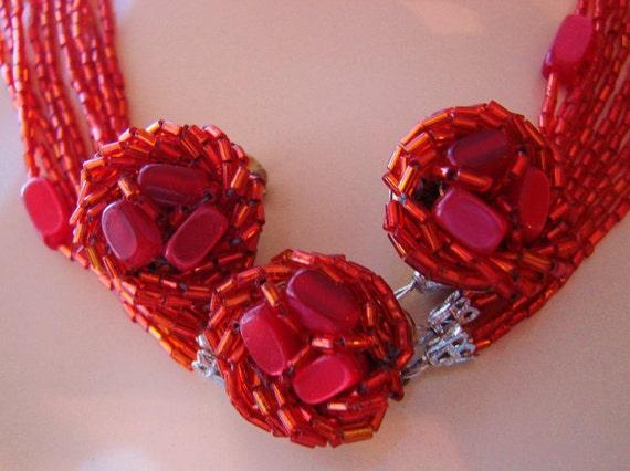 50s Multi-Strand Fuschia Lucite Beads Necklace & Earrings