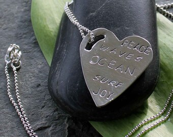 Sterling silver, hammered ocean love heart necklace
