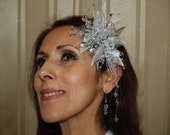 Brides Silver Headpiece with crystals and matching earrings, weddings, 25th wedding anniversary, Old Hollywood