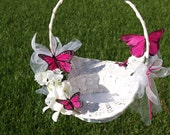 Wedding Basket white hydrangeas hot pink butterflies, available in set, outdoor wedding, pop of color