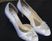 SALE Wedding Shoes mid heels White Satin shoes, Beautifully embellished with clear flowers and silver crystals, Open Peep Toe D'Orsay Pumps