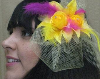 Yellow Flower Fascinator bright yellow & fuchsia, Mardi Gras, bridal wedding fascinator,Kentucky Derby
