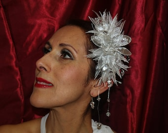 Brides Headpiece White and silver ribbons, glass beads, and matching earrings, 25th anniversary, party, Old Hollywood