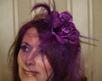 Purple hat Fascinator style with feathers and flowers,Wedding Hat, Kentucky Derby, Mardi Gras, night out, Mother of the bride accessory
