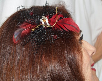 SALE Unique hair clip Red/ black feathers and tulle, fascinator, festival wear, bachelorette, tea party, Kentucky Derby, Mardi Gras Party