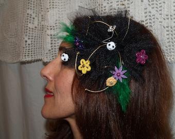 Clearance Mardi Grass Black fascinator animal heads feathers n flowers very festive colorful fascinator