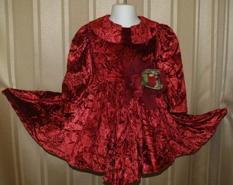 Girls Vintage 80s Red Burgundy Velvet Dress,Size 2T Size 6 Size 12 Dress Vintage Crushed Velvet Hanky Style,Collar,Long Sleeve, Gold Buttons