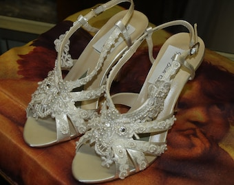 Victorian Wedding Shoes 3.5'' heels  Diamond White, Lace Pearls and Crystals, Edwardian, Great Gatsby, Old Hollywood Glamor, Open Toe Sandal