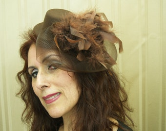 Brown Fascinator Mini Hat with Feathers, Retro Modern Mini Top Hat, Chocolate, Feathers, Derby, Steampunk, Unique Wedding