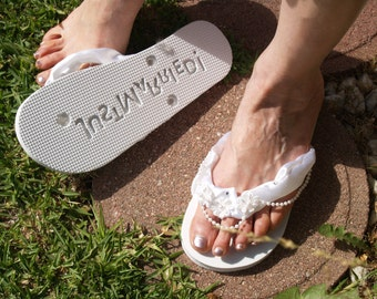 Beach Wedding Flip Flops Just Married foot print, white satin appliqués trimmed with pearls sequins and crystals,Honeymoon Sandals Thongs