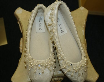 Wedding Ivory Flat Shoes Dangling pearls, and crystals adorn these beautiful shoes, Pearls galore, Pearl Wedding, slip resistant sole