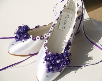 Wedding Flats Purple silk flowers, pearls, crystals, and ankle ribbons, Lace Up Ribbon, Satin Ballet Style Slippers,Closed Toe, Deep Purple