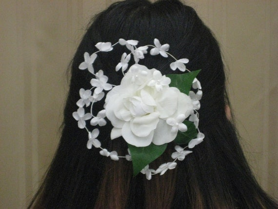 Brides Wedding White Rose Vintage Hair Accessory for Brides, Vintage Flower, Victorian, Retro 50s style, halo of flowers