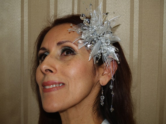 Brides Silver Headpiece with crystals and matching earrings, weddings,Prom, Pageant, Reception, Sweet 16, XV, Debutante, Old Hollywood