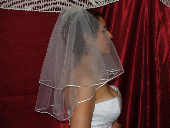 Brides Wedding Blusher Veil White or Ivory short veil comb, Short Two Tier Wedding Veil, Wedding Accessory, Velo De Novia