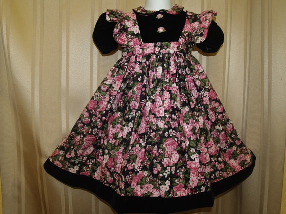 SALE pinafore dress Toddler Blk Velvet / cotton flower print
