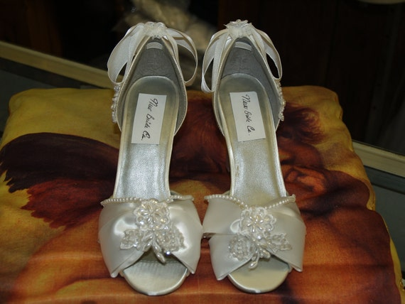 CLEARANCE Wedding Shoes 3'' heel, Ready Size 8 White Satin Decorated with Pearls, Sequins, Lace, and Flowers,Peep Toe,Open Toe D'Orsay Satin