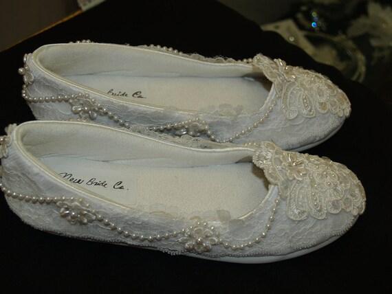SALE Victorian Wedding Flats Vegan Comfortable classy laces, pearls, appliqués, sequins