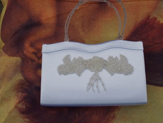 Brides Purse White Satin with beaded handle and Off-white appliqué, white satin handbag, wedding, formal evening wear accessory, small bag