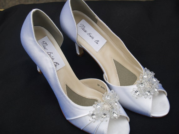 SALE Wedding Shoes White Satin, Beautifully embellished with clear flowers and silver crystals