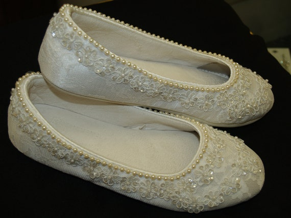 Wedding Ivory Flats Vegan Shoes Embellished with hand sewn