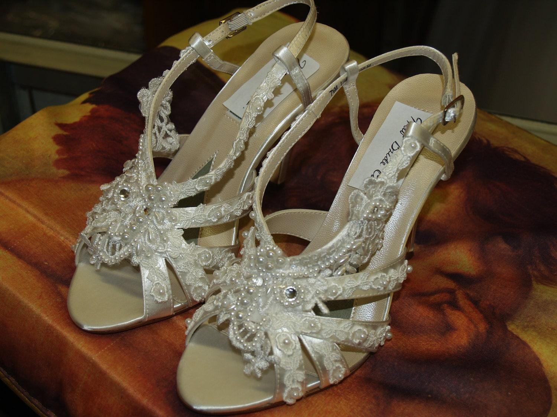Victorian Wedding Shoes 35 Heels Diamond White