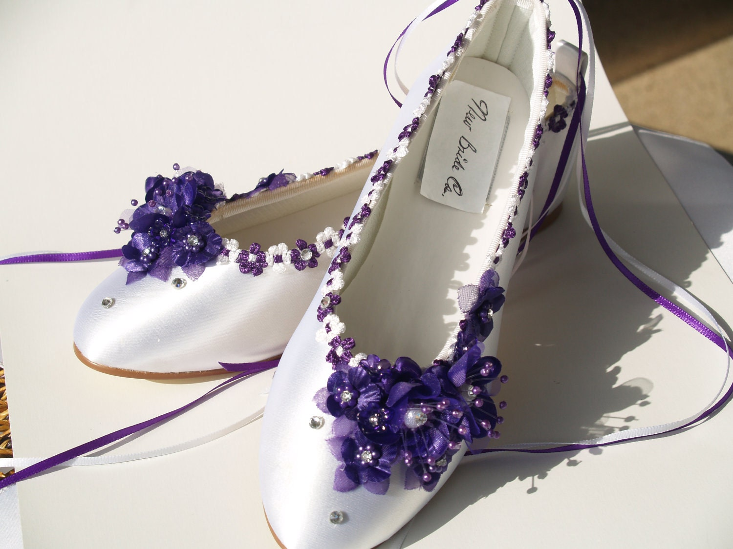 Wedding Wedding Slippers wedding flats purple silk flowers pearls crystals and ankle