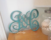 Family Monogram - Husband and Wife Wood Initials
