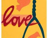 Yellow Love Birds Print- Paper Cut Art