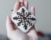 Christmas ornament - needle felted home decor - white and brown etno ornament - made to order - felt home decoration - rustic eco friendly