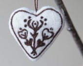 Christmas ornament - needle felted heart - felt home decoration - white and brown etno ornament  - eco friendly rustic- made to order