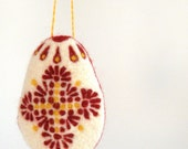 Easter tree decoration - needle felted red yellow easter egg - spring decor - felt decorations - pin cushion pillow