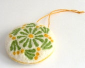 Easter decoration - needle felted spring ornament - yellow green - felt decorations - made to order