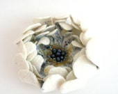 Felted flower pin brooch - natural white pastel denim blue yellow flower - floral jewelry - ready to ship - bridal accessories