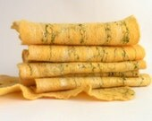 Wet felted scarf from yellow merino wool with green silk fibers - ready to ship