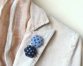 Felted flower brooch -  set of 2 mini blue brooches