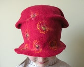 Red wet felted wool girl or women hat - autumn hat - ready to ship now - school girl - back to school - ready to ship